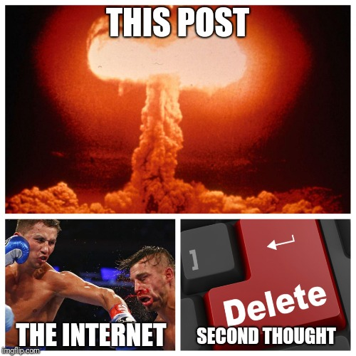 Social Media Be Like | THIS POST THE INTERNET SECOND THOUGHT | image tagged in facebook,internet,delete,social media,fight | made w/ Imgflip meme maker