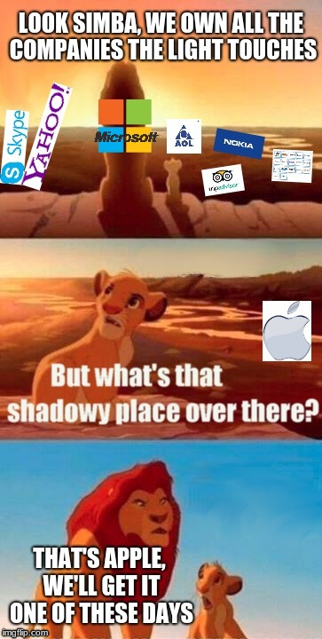 Microsoft Vs Apple | image tagged in simba shadowy place,microsoft,apple,yahoo,aol | made w/ Imgflip meme maker