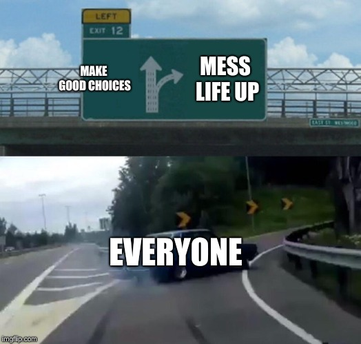Left Exit 12 Off Ramp |  MAKE GOOD CHOICES; MESS LIFE UP; EVERYONE | image tagged in memes,left exit 12 off ramp | made w/ Imgflip meme maker