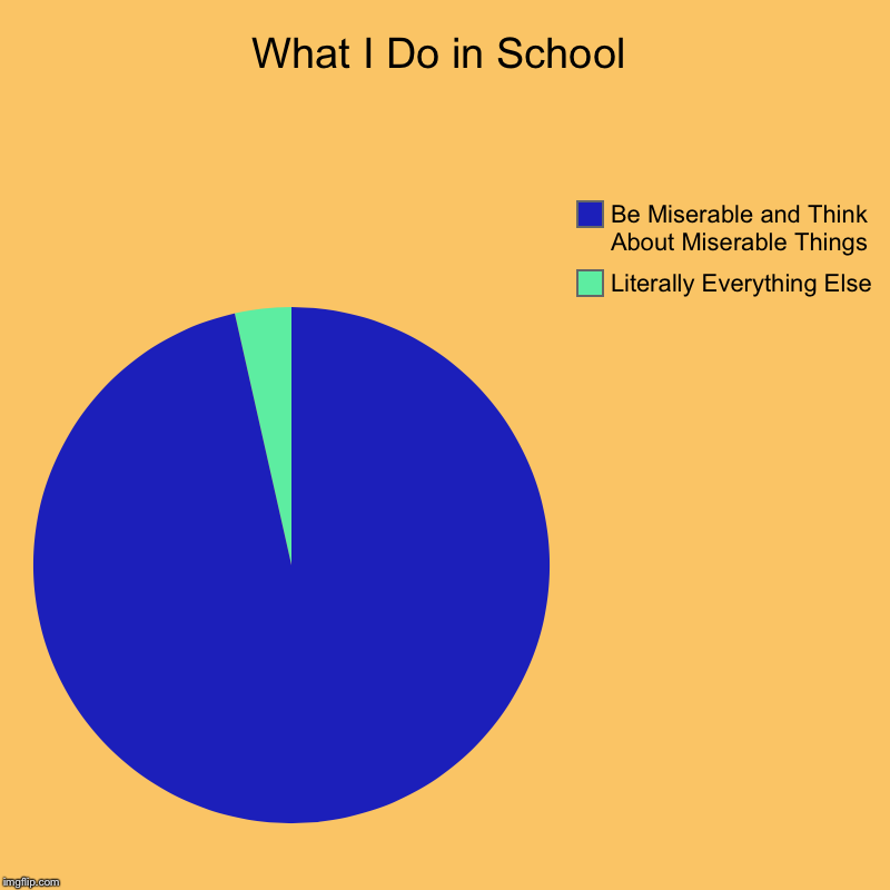 What I Do in School | Literally Everything Else, Be Miserable and Think About Miserable Things | image tagged in charts,pie charts | made w/ Imgflip chart maker