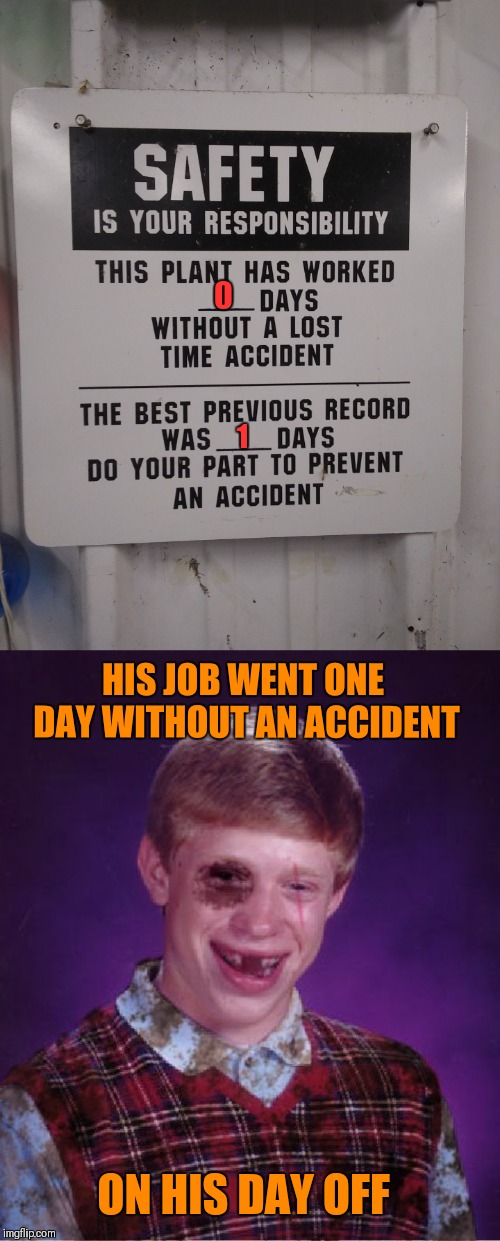 Lost Time Accident |  1; HIS JOB WENT ONE DAY WITHOUT AN ACCIDENT; ON HIS DAY OFF | image tagged in beat-up bad luck brian,memes,funny,bad luck brian,work,accident | made w/ Imgflip meme maker