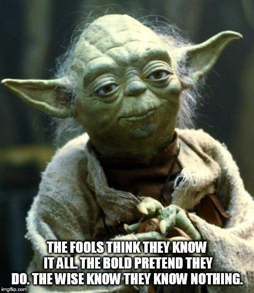 Star Wars Yoda Meme | THE FOOLS THINK THEY KNOW IT ALL. THE BOLD PRETEND THEY DO. THE WISE KNOW THEY KNOW NOTHING. | image tagged in memes,star wars yoda | made w/ Imgflip meme maker