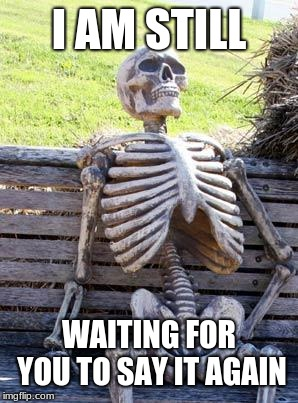 Waiting Skeleton Meme | I AM STILL WAITING FOR YOU TO SAY IT AGAIN | image tagged in memes,waiting skeleton | made w/ Imgflip meme maker
