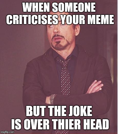 Face You Make Robert Downey Jr Meme | WHEN SOMEONE CRITICISES YOUR MEME BUT THE JOKE IS OVER THIER HEAD | image tagged in memes,face you make robert downey jr | made w/ Imgflip meme maker