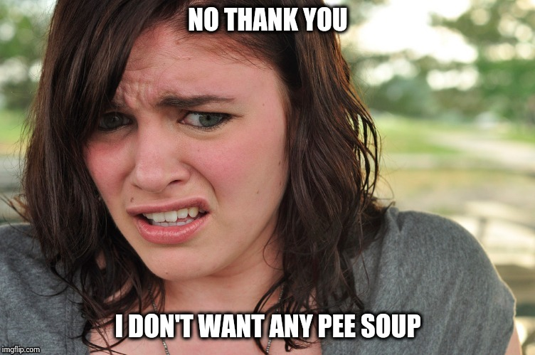 That's disgusting | NO THANK YOU I DON'T WANT ANY PEE SOUP | image tagged in that's disgusting | made w/ Imgflip meme maker