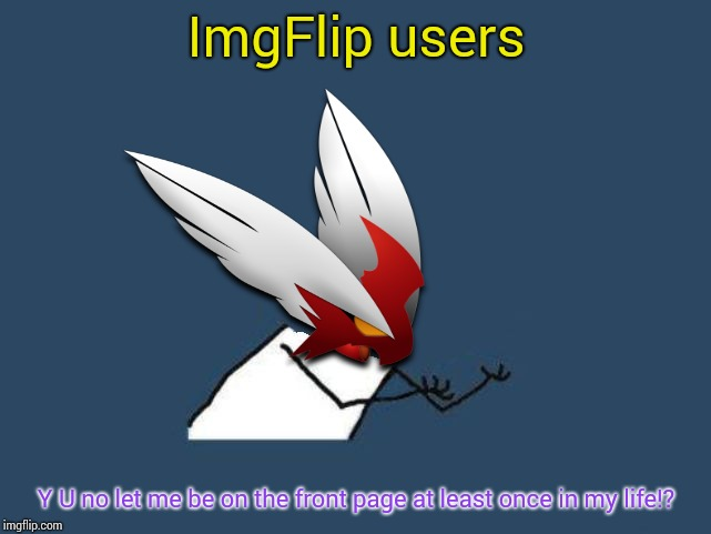I shouldn't complain but.... Y? Y? Y am I not on the front page? Y r my meme not on there? Seriously though. | ImgFlip users Y U no let me be on the front page at least once in my life!? | image tagged in y u no blaze the blaziken,front page,blaze the blaziken,imgflip users | made w/ Imgflip meme maker