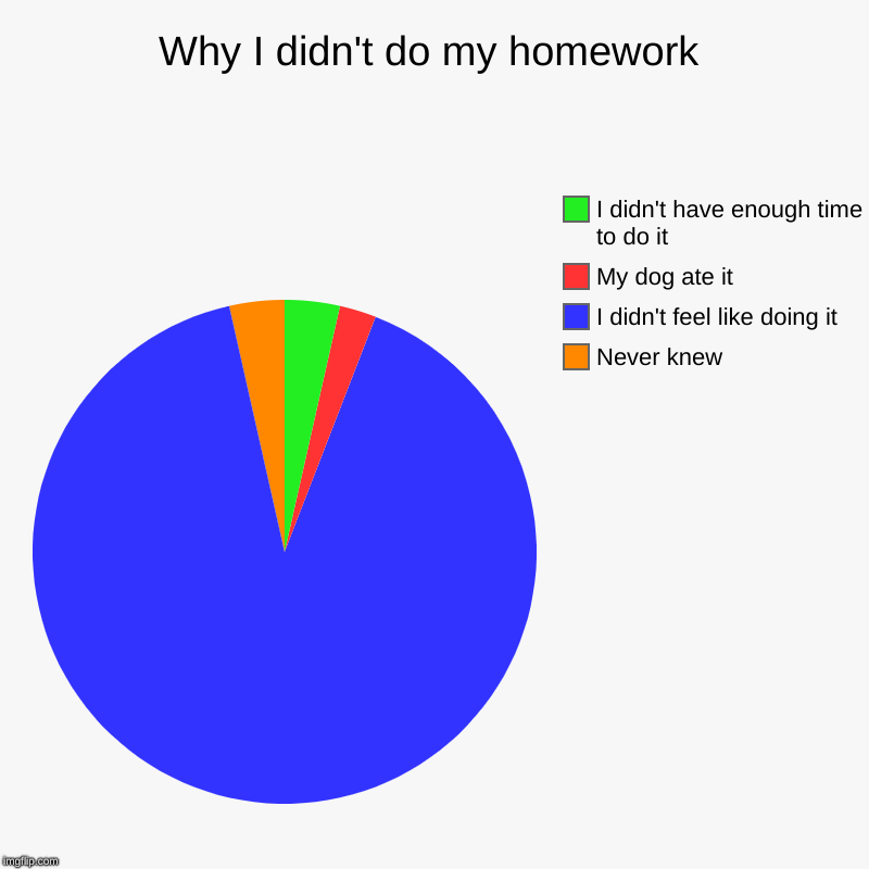 Why I didn't do my homework | Never knew, I didn't feel like doing it, My dog ate it, I didn't have enough time to do it | image tagged in charts,pie charts | made w/ Imgflip chart maker