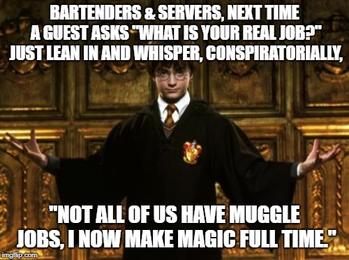 "BARTENDERS & SERVERS, NEXT TIME A GUEST ASKS ""WHAT IS YOUR REAL JOB?"" JUST LEAN IN AND WHISPER, CONSPIRATORIALLY, ""NOT ALL OF US HAVE MUGGLE 