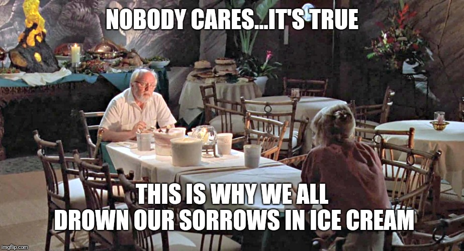 Jurassic Park ice cream scene | NOBODY CARES...IT'S TRUE THIS IS WHY WE ALL DROWN OUR SORROWS IN ICE CREAM | image tagged in jurassic park ice cream scene | made w/ Imgflip meme maker