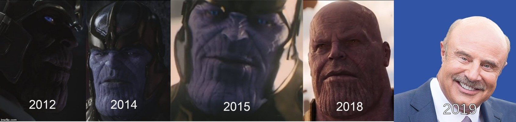 Evolution of Thanos | 2019 | image tagged in memes,funny,thanos,dr phil,evolution | made w/ Imgflip meme maker