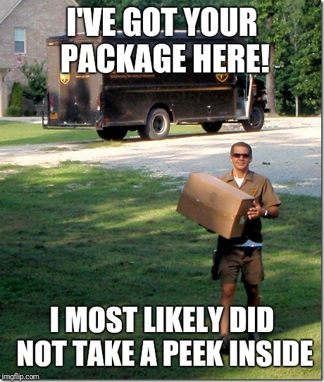 UPS delivery guy | I'VE GOT YOUR PACKAGE HERE! I MOST LIKELY DID NOT TAKE A PEEK INSIDE | image tagged in ups delivery guy | made w/ Imgflip meme maker
