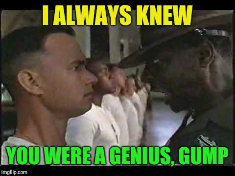 I ALWAYS KNEW YOU WERE A GENIUS, GUMP | made w/ Imgflip meme maker