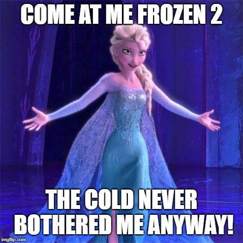 Elsa Come at me bro | COME AT ME FROZEN 2 THE COLD NEVER BOTHERED ME ANYWAY! | image tagged in elsa come at me bro | made w/ Imgflip meme maker