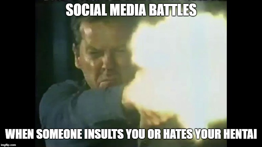 The Hater scarecrow | SOCIAL MEDIA BATTLES WHEN SOMEONE INSULTS YOU OR HATES YOUR HENTAI | image tagged in 24,haters,online,social media,facebook,flame war | made w/ Imgflip meme maker