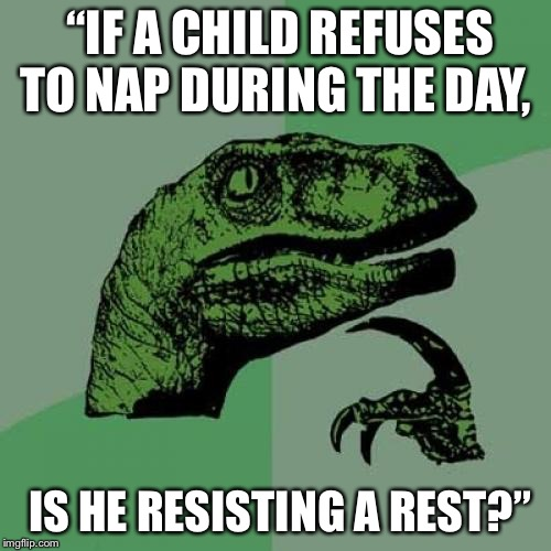 "Philosoraptor |  ""IF A CHILD REFUSES TO NAP DURING THE DAY, IS HE RESISTING A REST?"" 