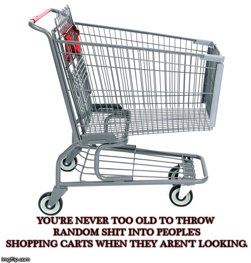 Shopping Fun |  YOU'RE NEVER TOO OLD TO THROW RANDOM SHIT INTO PEOPLE'S SHOPPING CARTS WHEN THEY AREN'T LOOKING. | image tagged in too old,random,shopping cart,surprise | made w/ Imgflip meme maker