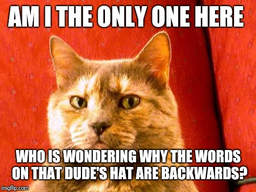 Suspicious Cat Meme | AM I THE ONLY ONE HERE WHO IS WONDERING WHY THE WORDS ON THAT DUDE'S HAT ARE BACKWARDS? | image tagged in memes,suspicious cat | made w/ Imgflip meme maker