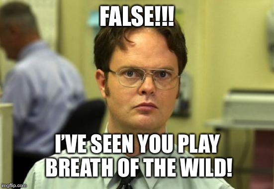Dwight Schrute | FALSE!!! I'VE SEEN YOU PLAY BREATH OF THE WILD! | image tagged in memes,dwight schrute | made w/ Imgflip meme maker