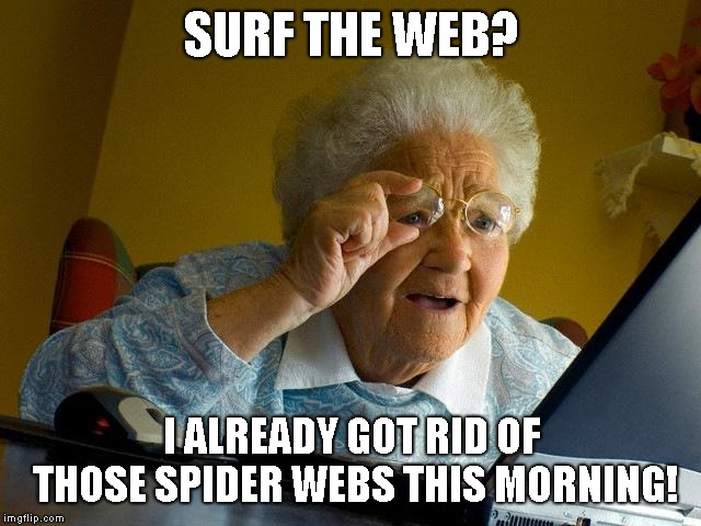 Not that web granny | SURF THE WEB? I ALREADY GOT RID OF THOSE SPIDER WEBS THIS MORNING! | image tagged in memes,grandma finds the internet | made w/ Imgflip meme maker