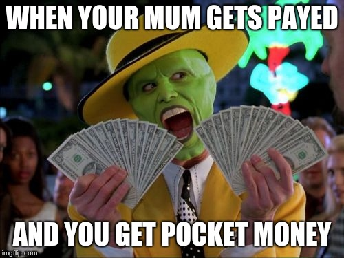 Money Money Meme | WHEN YOUR MUM GETS PAYED AND YOU GET POCKET MONEY | image tagged in memes,money money | made w/ Imgflip meme maker