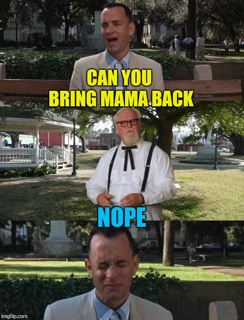 sorry forrest mama was wrong again | CAN YOU BRING MAMA BACK NOPE | image tagged in sorry forrest mama was wrong again | made w/ Imgflip meme maker
