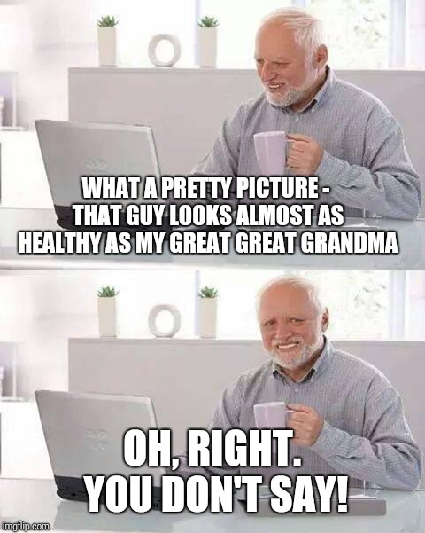 Hide the Pain Harold Meme | WHAT A PRETTY PICTURE - THAT GUY LOOKS ALMOST AS HEALTHY AS MY GREAT GREAT GRANDMA OH, RIGHT. YOU DON'T SAY! | image tagged in memes,hide the pain harold | made w/ Imgflip meme maker