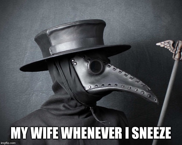 MY WIFE WHENEVER I SNEEZE | image tagged in plague | made w/ Imgflip meme maker