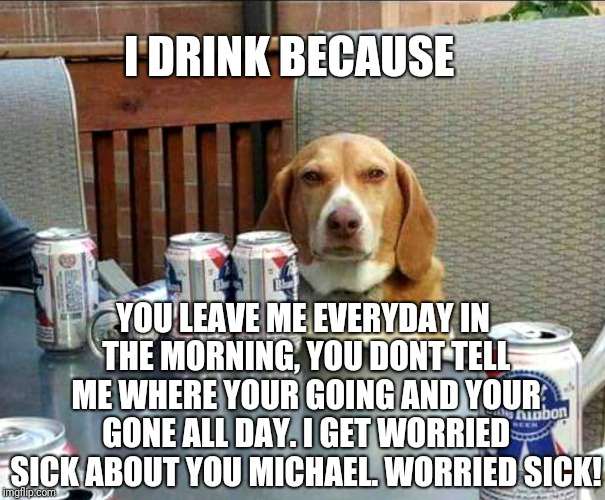 beer dog | I DRINK BECAUSE YOU LEAVE ME EVERYDAY IN THE MORNING, YOU DONT TELL ME WHERE YOUR GOING AND YOUR GONE ALL DAY. I GET WORRIED SICK ABOUT YOU  | image tagged in beer dog | made w/ Imgflip meme maker