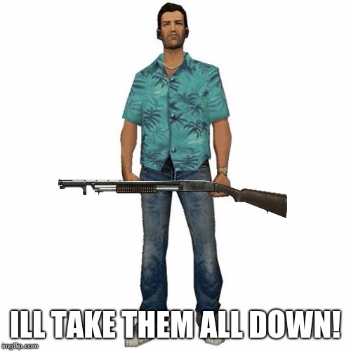 tommy vercetti | ILL TAKE THEM ALL DOWN! | image tagged in tommy vercetti | made w/ Imgflip meme maker