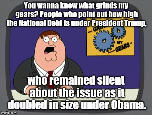 Peter Griffin News | You wanna know what grinds my gears? People who point out how high the National Debt is under President Trump, who remained silent about the | image tagged in memes,peter griffin news | made w/ Imgflip meme maker