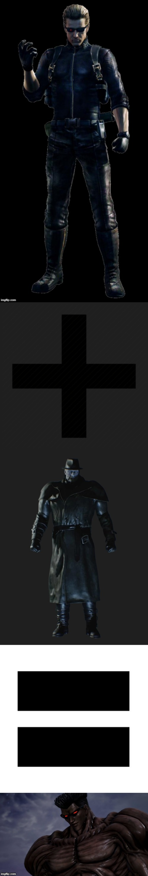 Albert Wesker plus Mr. X equals Toguro | image tagged in resident evil,anime,animeme,anime meme | made w/ Imgflip meme maker