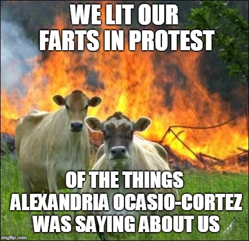 Kick the Tires and Light the Fires |  WE LIT OUR FARTS IN PROTEST; OF THE THINGS ALEXANDRIA OCASIO-CORTEZ WAS SAYING ABOUT US | image tagged in memes,evil cows,alexandria ocasio-cortez,farting,farting cows | made w/ Imgflip meme maker