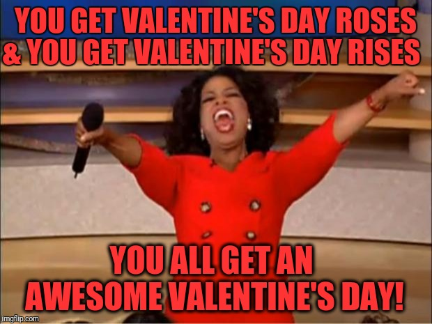 A Happy Valentine's Day Typo (so I thought, let's just go with that)! :-) | YOU GET VALENTINE'S DAY ROSES & YOU GET VALENTINE'S DAY RISES YOU ALL GET AN AWESOME VALENTINE'S DAY! | image tagged in memes,oprah you get a,valentine's day,roses,rises | made w/ Imgflip meme maker