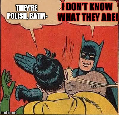 Batman Slapping Robin Meme | THEY'RE POLISH, BATM- I DON'T KNOW WHAT THEY ARE! | image tagged in memes,batman slapping robin | made w/ Imgflip meme maker