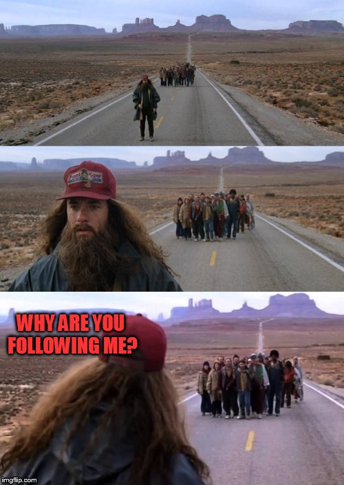 Forest Gump Puns | WHY ARE YOU FOLLOWING ME? | image tagged in forest gump puns | made w/ Imgflip meme maker