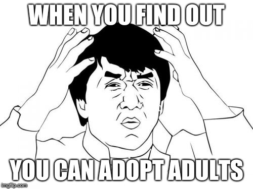 Jackie Chan WTF |  WHEN YOU FIND OUT; YOU CAN ADOPT ADULTS | image tagged in memes,jackie chan wtf | made w/ Imgflip meme maker