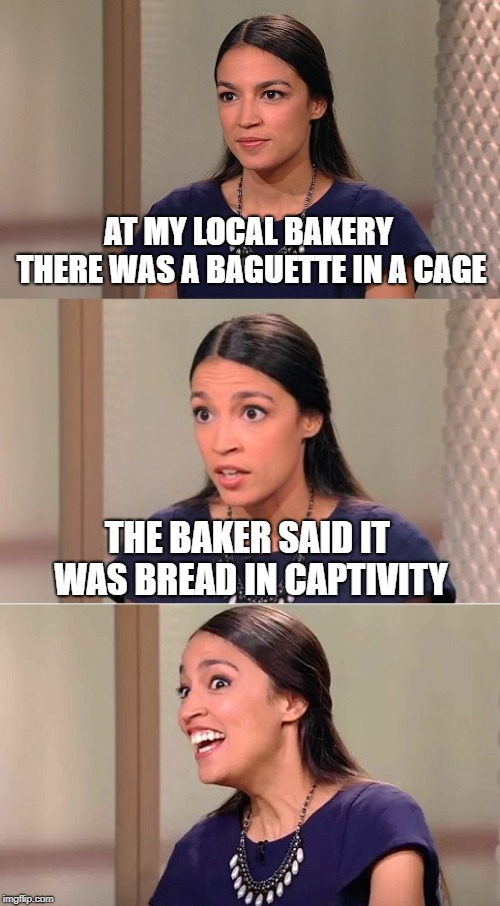 I eat only free-range artisan bread. | AT MY LOCAL BAKERY THERE WAS A BAGUETTE IN A CAGE THE BAKER SAID IT WAS BREAD IN CAPTIVITY | image tagged in bad pun ocasio-cortez,bread,cage,make me a sandwich | made w/ Imgflip meme maker