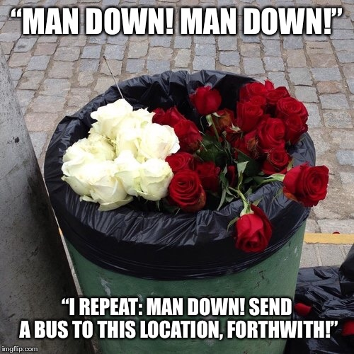 """MAN DOWN! MAN DOWN!"" ""I REPEAT: MAN DOWN! SEND A BUS TO THIS LOCATION, FORTHWITH!"" 