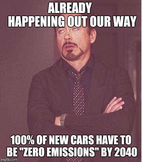 "Face You Make Robert Downey Jr Meme | ALREADY  HAPPENING OUT OUR WAY 100% OF NEW CARS HAVE TO BE ""ZERO EMISSIONS"" BY 2040 