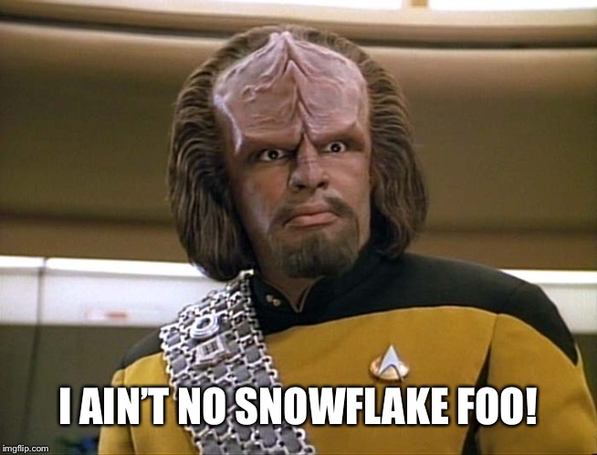 Lt Worf - Say What? | I AIN'T NO SNOWFLAKE FOO! | image tagged in lt worf - say what | made w/ Imgflip meme maker