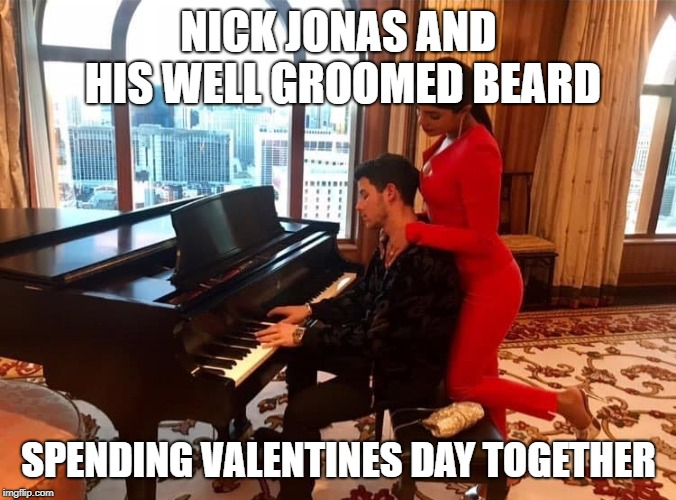 That red beard looks good on him | NICK JONAS AND HIS WELL GROOMED BEARD SPENDING VALENTINES DAY TOGETHER | image tagged in nick jonas,beard,closeted gay,lgbtq,valentine's day,secrets | made w/ Imgflip meme maker
