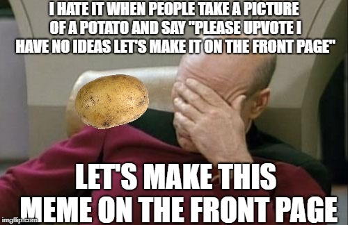 "I should be mashed for this one...I'm such a spud | I HATE IT WHEN PEOPLE TAKE A PICTURE OF A POTATO AND SAY ""PLEASE UPVOTE I HAVE NO IDEAS LET'S MAKE IT ON THE FRONT PAGE"" LET'S MAKE THIS MEM 