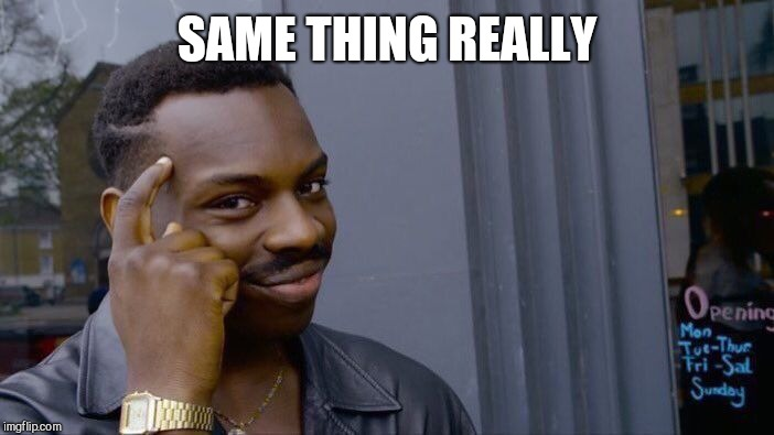 Roll Safe Think About It Meme | SAME THING REALLY | image tagged in memes,roll safe think about it | made w/ Imgflip meme maker
