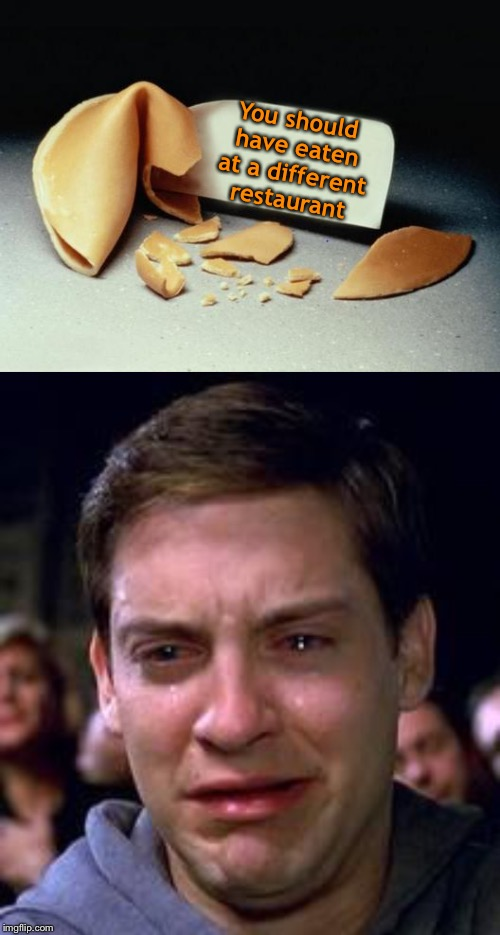 Eaters remorse. | You should have eaten at a different restaurant | image tagged in peter parker crying,fortune cookie,memes,funny,restaurant | made w/ Imgflip meme maker