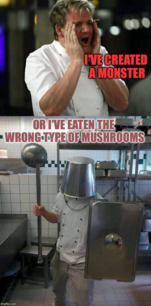 Gordon's losing it. | I'VE CREATED A MONSTER OR I'VE EATEN THE WRONG TYPE OF MUSHROOMS | image tagged in gordon ramsey shouting,monster,memes,funny | made w/ Imgflip meme maker