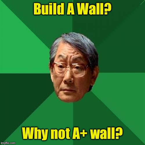 High Expectations Asian Father | Build A Wall? Why not A+ wall? | image tagged in memes,high expectations asian father,build a wall,border wall | made w/ Imgflip meme maker