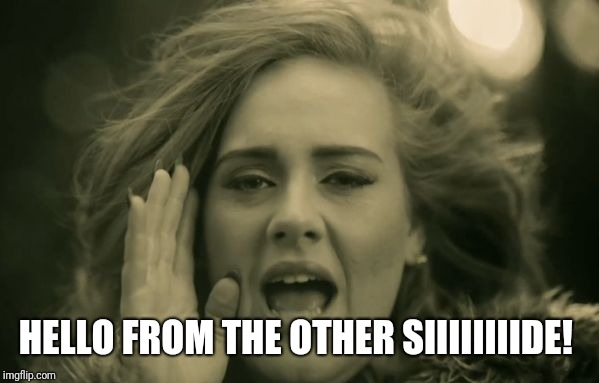 adele hello | HELLO FROM THE OTHER SIIIIIIIIDE! | image tagged in adele hello | made w/ Imgflip meme maker