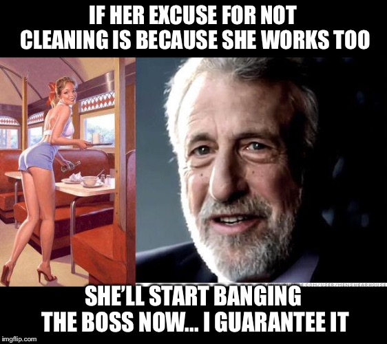 IF HER EXCUSE FOR NOT CLEANING IS BECAUSE SHE WORKS TOO SHE'LL START BANGING THE BOSS NOW... I GUARANTEE IT | image tagged in i guarantee it | made w/ Imgflip meme maker