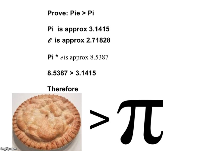 image tagged in pie greater than pi | made w/ Imgflip meme maker