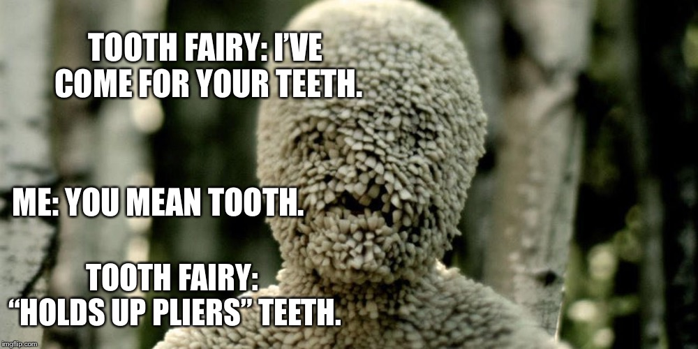 "TOOTH FAIRY: I'VE COME FOR YOUR TEETH. ME: YOU MEAN TOOTH. TOOTH FAIRY: ""HOLDS UP PLIERS"" TEETH. 